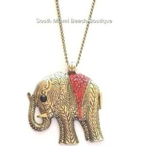 "Gold Elephant Necklace 26"" X-Long Burnished Brass"
